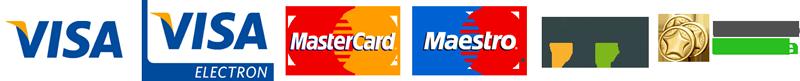 Visa, Visa electrón, MasterCard, Maestro, iuPay y Lotobolsa